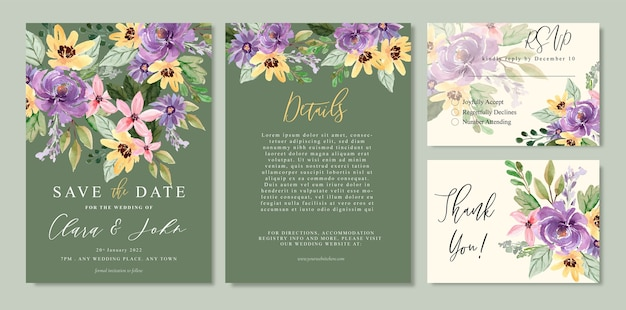 Watercolor floral wedding invitation with yellow and purpler flower