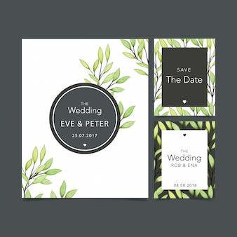 水彩フラワー結婚式招待状