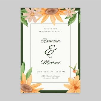Invito a nozze floreale ad acquerello