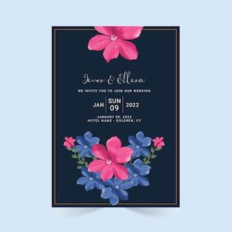Акварель цветочные свадебные приглашения шаблон дизайна карты