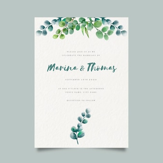 Watercolor floral wedding invite template