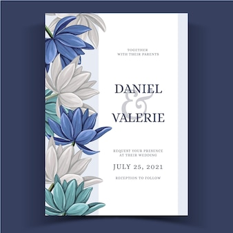 Watercolor floral wedding invite