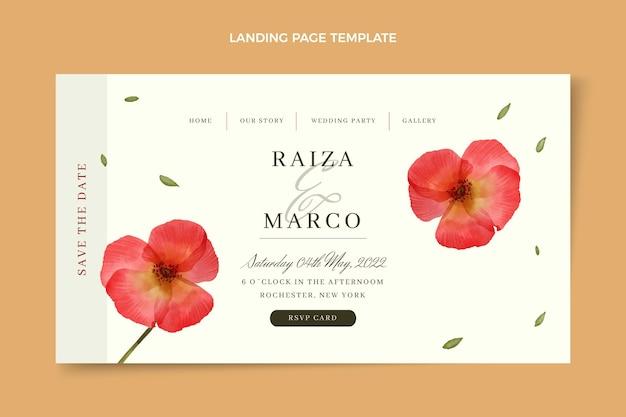 Pagina di destinazione del matrimonio floreale dell'acquerello