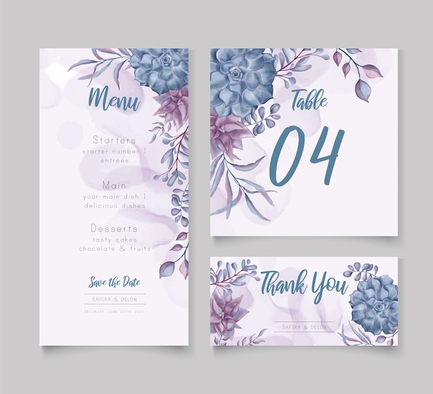 Watercolor floral wedding menu template set bundle