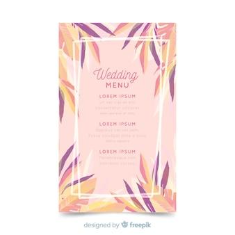 수채화 꽃 웨딩 메뉴 템플릿