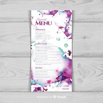Шаблон меню акварель цветочные свадьбы