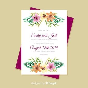 Modello di menu matrimonio floreale dell'acquerello