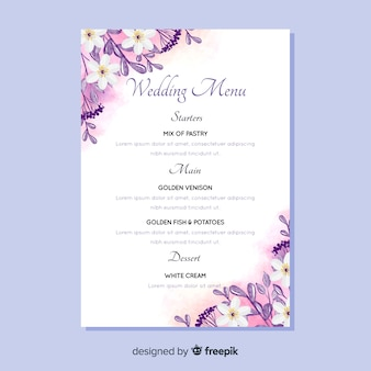 Watercolor floral wedding menu template