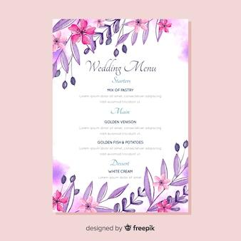 Watercolor floral wedding menu template