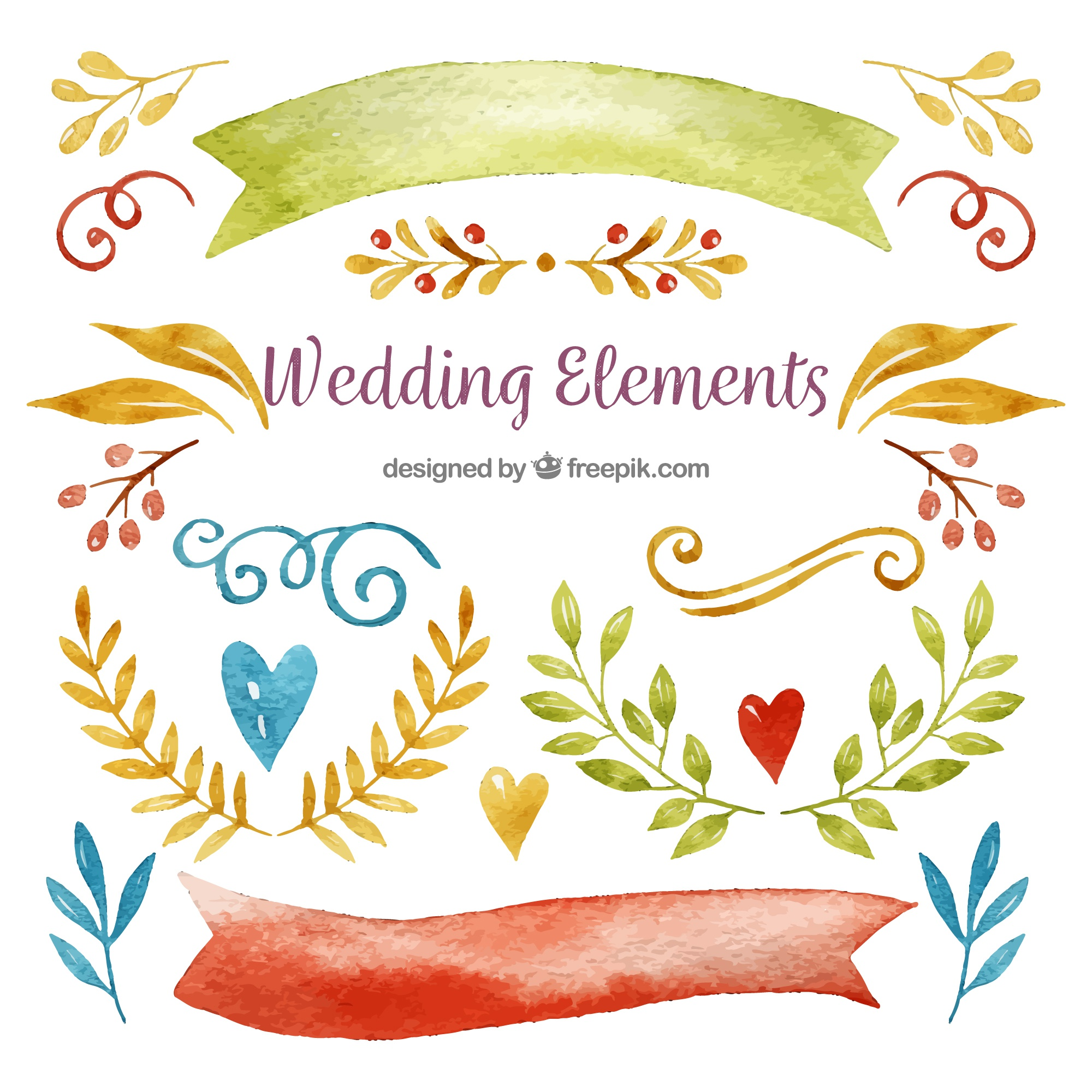 Watercolor floral wedding ornament collection