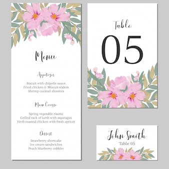 Watercolor floral wedding stationary card template