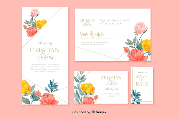 Watercolor floral wedding stationery template