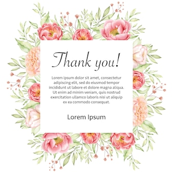 Watercolor floral wedding thank you card frame