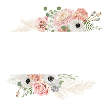 水彩花の結婚式のベクトルフレーム。パンパスグラス、アネモネ、バラの花の結婚式のボーダーテンプレート。最小限の春の招待カード、装飾的な自由奔放に生きる夏のバナー