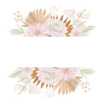 수채화 꽃 결혼식 벡터 프레임입니다. 억새풀, 달리아 꽃, 마른 야자수는 결혼식을 위한 테두리 템플릿, 최소한의 초대 카드, 장식용 보호 여름 배너