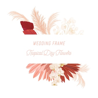 Акварель цветочные свадебные векторные рамки. трава пампасов, цветы орхидеи, шаблон границы сухих пальмовых листьев для церемонии бракосочетания, минимальный пригласительный билет, декоративный летний баннер в стиле бохо