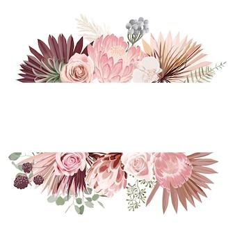 Акварель цветочные свадебные векторные рамки. трава пампасов, протея, цветы орхидеи, шаблон границы сухих пальмовых листьев для церемонии бракосочетания, минимальный пригласительный билет, декоративный летний баннер в стиле бохо