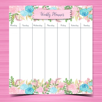 Watercolor floral weekly planner with gorgeous flowers