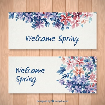 Watercolor floral welcome spring banners