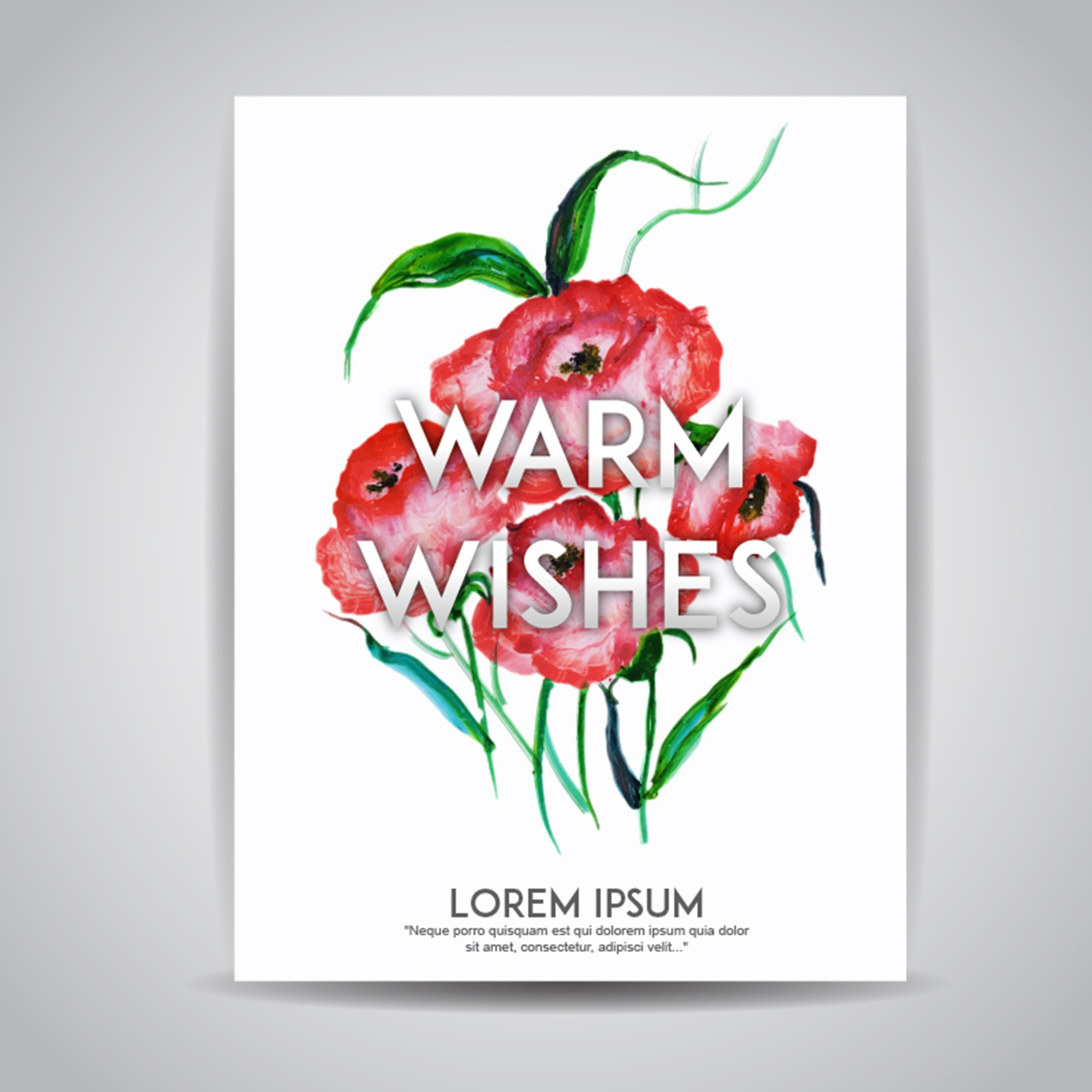 Watercolor Floral Wishes Invitation Card