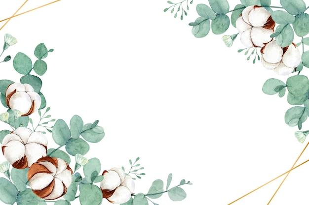 말린 목화 꽃과 유칼립투스 잎이있는 수채화 꽃
