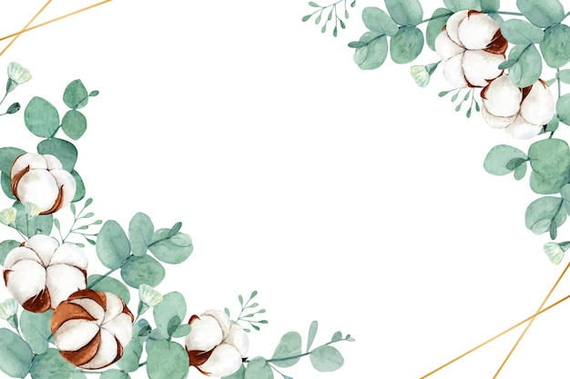 Watercolor floral with dried cotton flowers and eucalyptus leaves Premium Vector