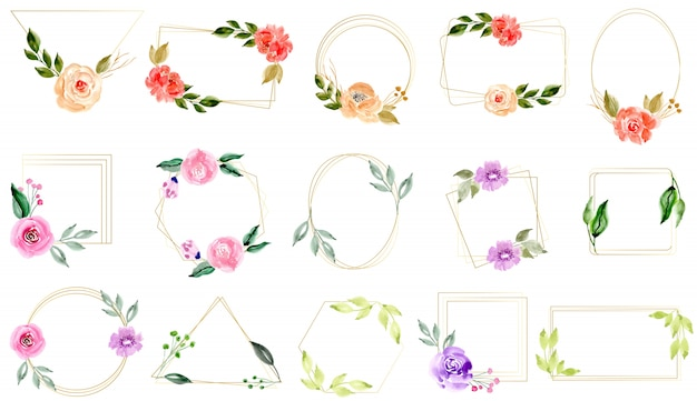 Watercolor floral with golden frame collection