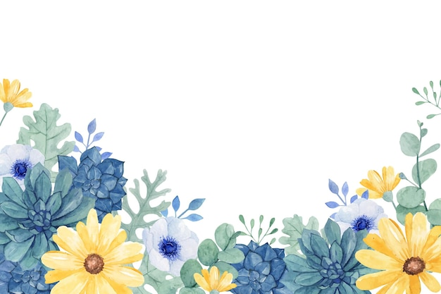 Цветочная акварель с сочными, ветреницами и желтой ромашкой