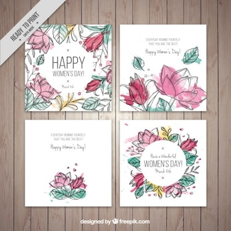 Watercolor floral woman day cards