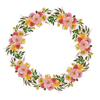 특별한 날을위한 수채화 꽃 화환