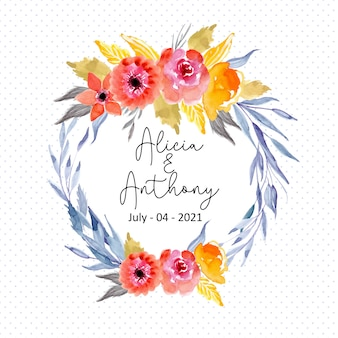 Watercolor floral wreath frame with dots pattern background