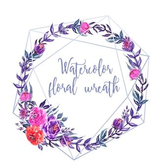 Watercolor floral wreath geometric line