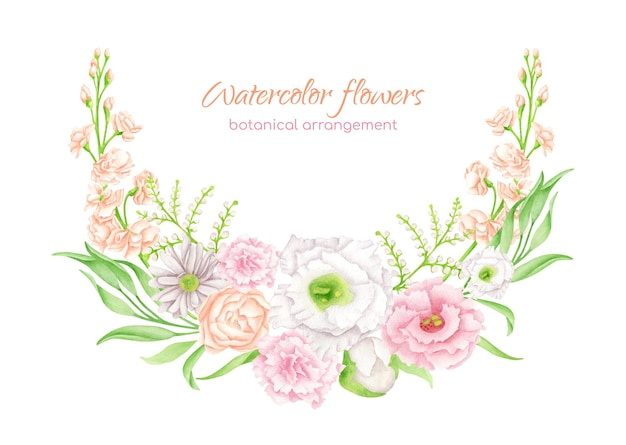 Watercolor floral wreath. hand drawn flower arrangement
