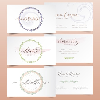 Watercolor floral wreath logo designs