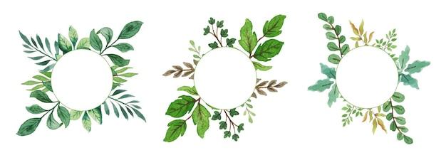 Watercolor floral wreath set