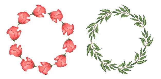 수채화 꽃 화 환 세트