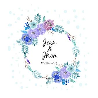 Watercolor floral wreath soft blue