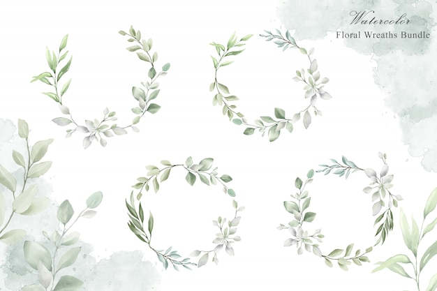 Watercolor floral wreath for wedding invitation card template