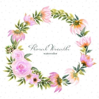 Акварельный венок с красивой розовой маргариткой