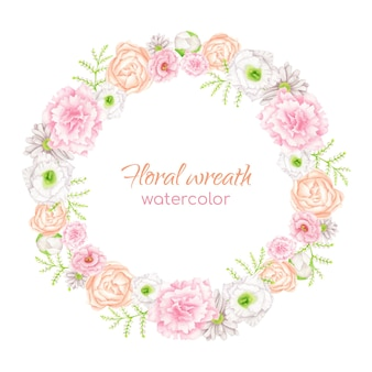 Watercolor floral wreath with blush and white flowers. elegant round frame