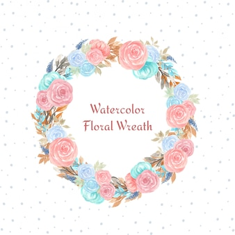 Watercolor floral wreath with colorful flowers