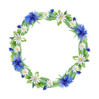 Акварельный цветочный венок с васильками и листьями