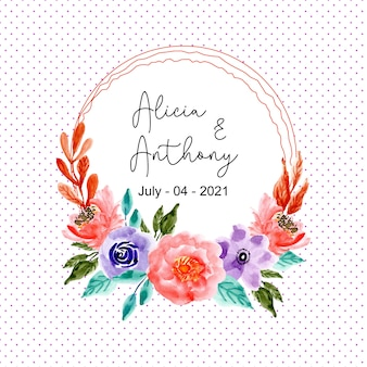 Watercolor floral wreath with dots background