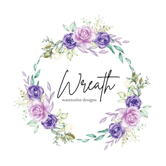 Watercolor floral wreath with flowers and leaves