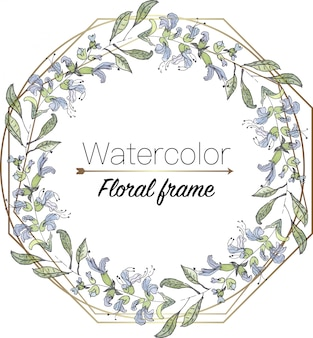 Watercolor floral wreath with geometric frame