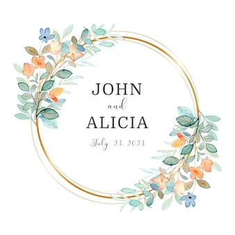 Watercolor floral wreath with golden circle