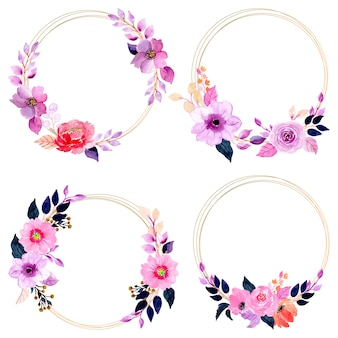 Watercolor floral wreath with golden frame