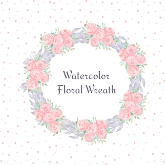 Watercolor floral wreath with gorgeous flowers