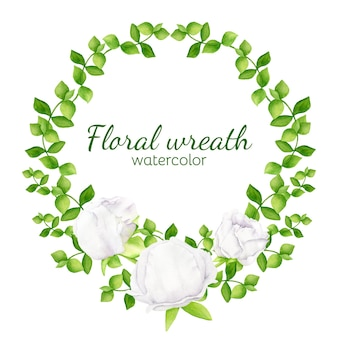Watercolor floral wreath with greenery and white peony flowers