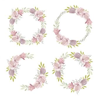 マグノリア春コレクションと水彩の花の花輪